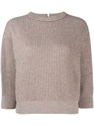 Brunello Cucinelli Knitted Cropped Sweatshirt Brown