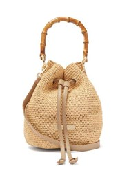 Heidi Klein Savannah Bay Mini Bamboo Handle Raffia Bag Beige