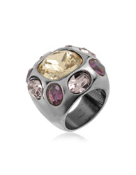 A Z Collection Multicolor Crystal Ring Black