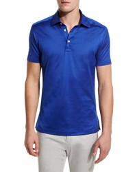 Kiton Solid Sateen Polo Shirt Royal Blue