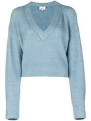 3.1 Phillip Lim Cropped V Neck Sweater Blue
