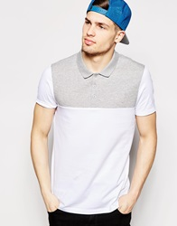 Asos Polo Shirt In Jersey With Cut And Sew Whitegrey