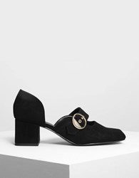 Charles And Keith Gold Buckle Detail Mary Janes Black