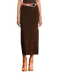 Lauren Ralph Lauren Petite Rib Knit Merino Wool Skirt Chocolate