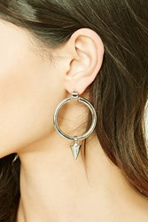 Forever 21 O Ring Spike Pendant Earrings Silver