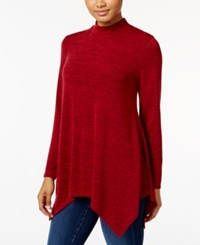 Styleandco. Style Co. Mock Neck Handkerchief Hem Top Only At Macy's New Red Amore