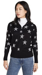 Chaser Star Intarsia Drop Shoulder Funnel Neck Pullover Black And Silver