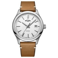 Rotary Men's Oxford Date Leather Strap Watch Tan White