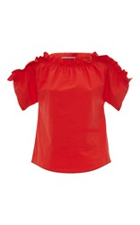Msgm Ruffle Off The Shoulder Top Red