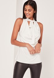 Missguided Tie Neck Cowl Vest White
