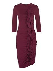 Hotsquash Long Sleeved Dress With Frill Detail Burgundy