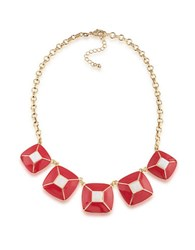 1St And Gorgeous Enamel Pyramid Pendant Statement Necklace In Red White Gold