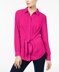 Inc International Concepts Tie Front Shirt Created For Macy's Magenta Flame