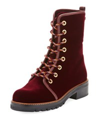 Stuart Weitzman Metermaid Velvet Combat Boot Dark Red