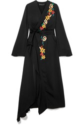 Etro Wrap Effect Embellished Hammered Satin Dress Black