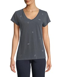 Sundry Icons V Neck Graphic Tee Charcoal