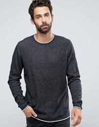 Only And Sons Knitted Jumper With Rolled Neck Hem Black
