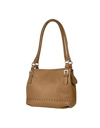 Fontanelli Tan Brown Stiched Soft Leather Handbag