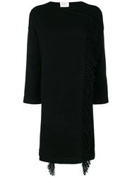 Snobby Sheep Fringed Knitted Long Sweater Black