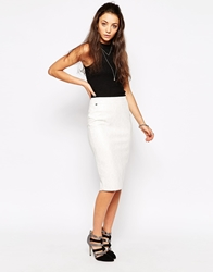 Rock And Religion Pu Pencil Skirt With Zip Back Cream