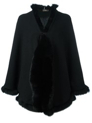 N.Peal Cashmere Furry Trim Cardigan Black