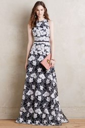 Anthropologie Alyssum Lace Gown Black And White