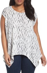 Sejour Plus Size Women's High Low Tee Ivory C Black Plaid Print
