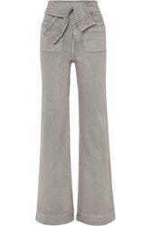 Ulla Johnson Wade Belted High Rise Wide Leg Jeans Gray
