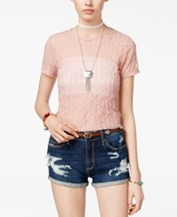American Rag Sheer Cropped Lace T Shirt Only At Macy's Pale Mauve