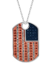 Macy's Multicolored Diamond Dog Tag Pendant Necklace 1 3 Ct. T.W. In Sterling Silver