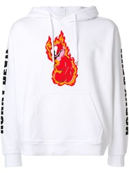 House Of Holland Flame Print Hoodie Cotton White