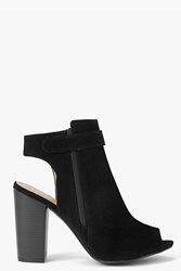 Boohoo Open Back Peeptoe Shoeboot Black
