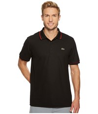 Lacoste Piped Technical Pique Tennis Polo Black Red Men's Short Sleeve Pullover
