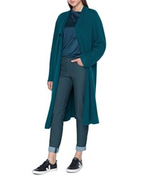 Akris Asymmetric Long Rib Open Cashmere Cardigan Sweater Teal