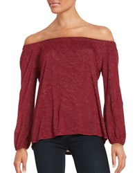 Velvet By Graham And Spencer Heathered Three Quarter Sleeve Off The Shoulder Top