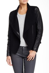 Vince Leather Sleeve Asymmetric Wool Jacket Black
