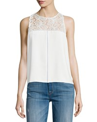Parker Bart Lace Inset Sleeveless Top Pearl White Women's