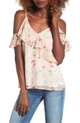 Astr Women's Cold Shoulder Camisole Cream Floral