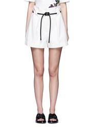 3.1 Phillip Lim Origami Pleat Tie Waist Shorts White