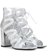 Saint Laurent Babies 90 Metallic Leather Sandals Silver