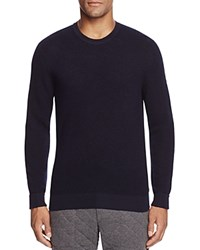 Bloomingdale's The Men's Store At Thermal Stitch Merino Wool Crewneck Sweater Navy