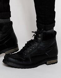 Asos Boots In Black Leather With Suede Cuff Detailing Black