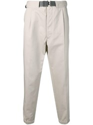 Emporio Armani Belted Trousers Neutrals