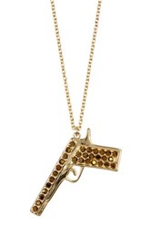 Zadig And Voltaire Gun Charm Long Necklace Metallic