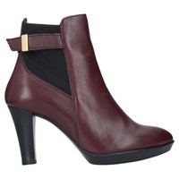 Carvela Comfort Rae Cone Heeled Ankle Boots Red Leather