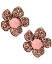 Betsey Johnson Gold Tone Pink Pave Beaded Flower Clip On Earrings
