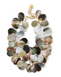 Nest Mother Of Pearl Petal Cluster Necklace Gray