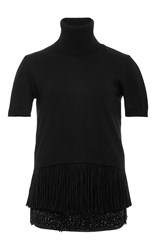 N 21 No. Short Sleeve Turtleneck Sweater Black