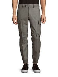 Ralph Lauren Purple Label Slim Fit Wool Cargo Pants Grey Melange