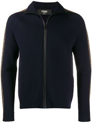 Fendi Ff Logo Zip Up Jacket Blue